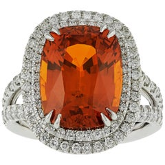 10.11 Carat Orange Sapphire Ring