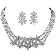 Harry Winston Diamond Flower Motif Necklace Suite