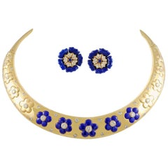 Van Cleef & Arpels Diamond and Lapis Lazuli Necklace Suite