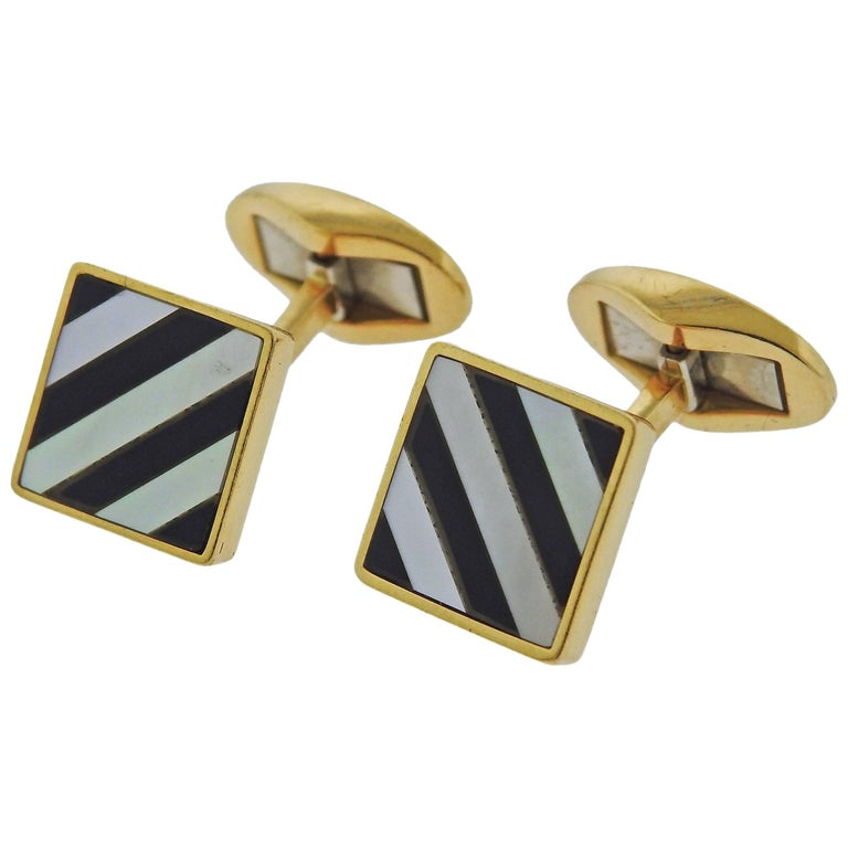 Tiffany & Co. Mother-of-Pearl Onyx Inlay Gold Cufflinks