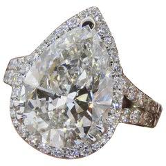 Pear Shape Halo Diamond Ring