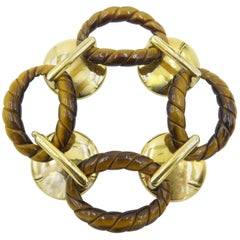 Aldo Cipullo Tiger's Eye Gold Link Bracelet
