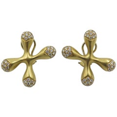 "Angela Cummings Gold and Diamond ""X"" Earrings"