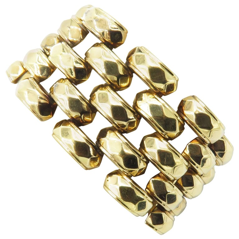 Hammered Rose Gold Link Bracelet