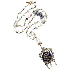 Keishi Pearls Kyanite Rock Crystal Georgian Enamel Silver Paste Necklace