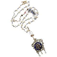 Keishi Pearls Kyanite Rock Crystal Georgian Enamel Silver Paste Necklace
