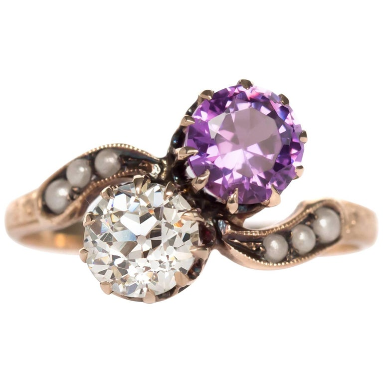 1890s Victorian Diamond and Amethyst 9 Karat Yellow Gold Engagement Ring