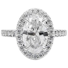GIA Certified 1.75 Carat D VS2 Oval Diamond Pave Halo Engagement Ring