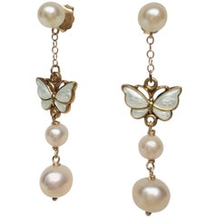 Marina J Pearl Earrings with Vintage White Enamel Butterfly and 14 k Yellow gold