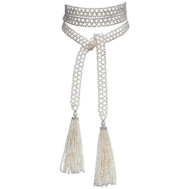 Marina J Pearl Tassel Sautoir with White Gold and Pearl Tassels
