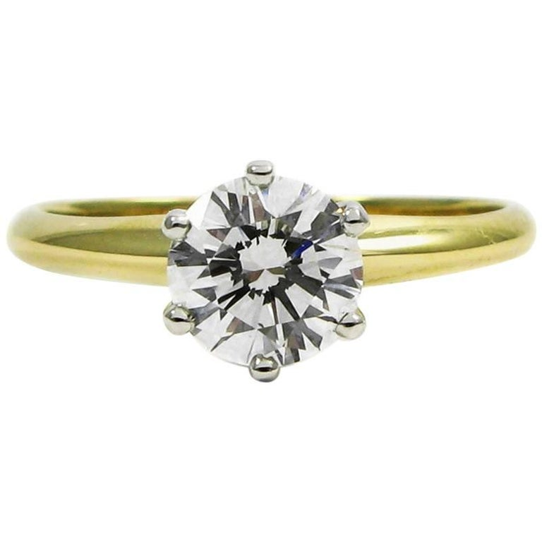 GIA Report Tiffany & Co. 0.76 Carat F VS1 Diamond Solitaire Engagement Ring