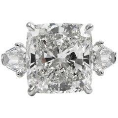 GIA Certified 8.44 Carat Cushion Diamond Platinum Three-Stone Ring by J Birnbach