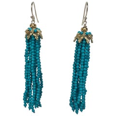Marina J Turquoise Tassel Earrings