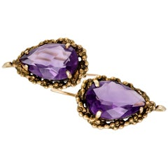 Victorian Amethyst and 14 Karat Yellow Gold Earrings