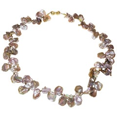 Brown-Rose Keshi Pearl Necklace with 18 Karat Double Heart Clasp