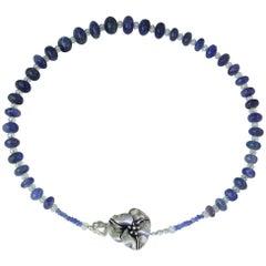 Graduated Cabochon Tanzanite Rondel Necklace