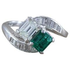 Diamond Emerald Platinum Bypass Ring