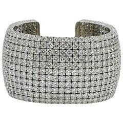Norman Silverman 11 Row 80.35 Carat Diamond White Gold Cuff