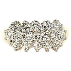 Round Brilliant Diamond Cluster Ring. Over 1.50 carats of diamonds!