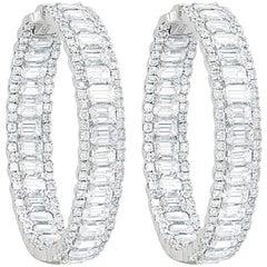 Emerald Cut Diamond Hoop Earrings