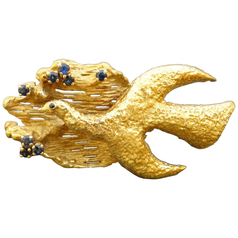 Georges Braque Megaletor 1960s Modernist Sapphire Gold Brooch