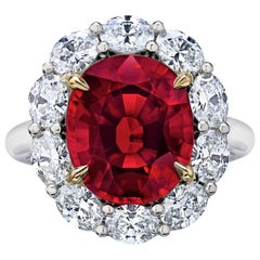 6.82 Carat Red Spinel Diamond Cluster Ring