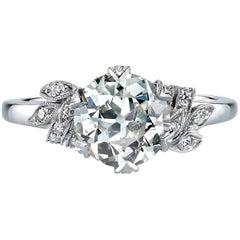 Old European Cut Diamond Platinum Engagement Ring