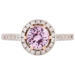 Kian Design Two-Tone Pink Sapphire Diamond Halo Engagement Ring