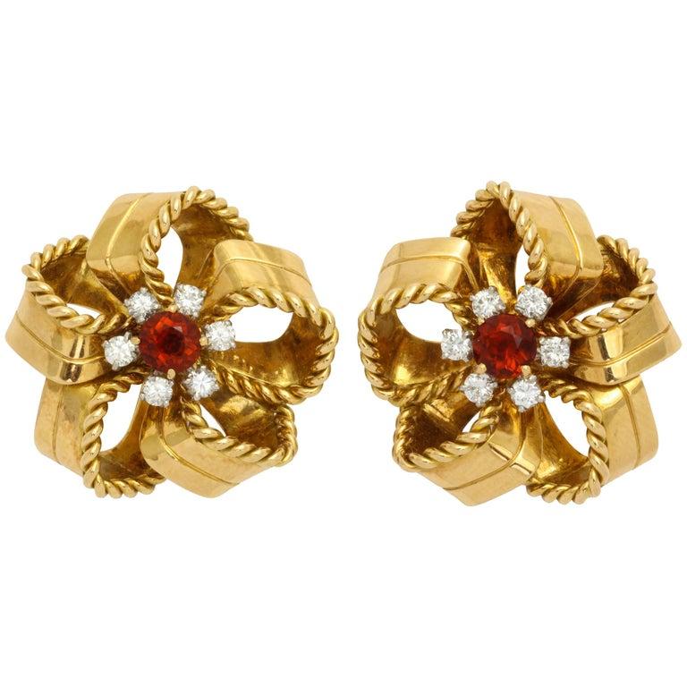 Cartier 1950s Citrine Diamond Gold Earrings