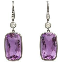 Amethyst and Diamond Hanging Earrings