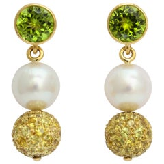 Donna Vock South Sea Cultured Pearl Peridot Yellow Sapphire Earrings