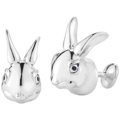 Marisa Perry Sapphire Bunny Cufflinks in Sterling Silver