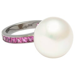 Donna Vock 30.99 Carat South Sea Cultured Pearl and Pink Sapphire Ring