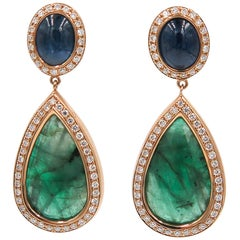 Emerald Sapphire Diamond Drop Earrings by Monseo