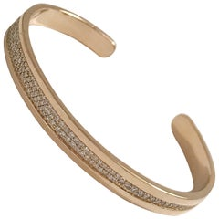 Granulated Diamond and Yellow Gold Cuff Bracelet