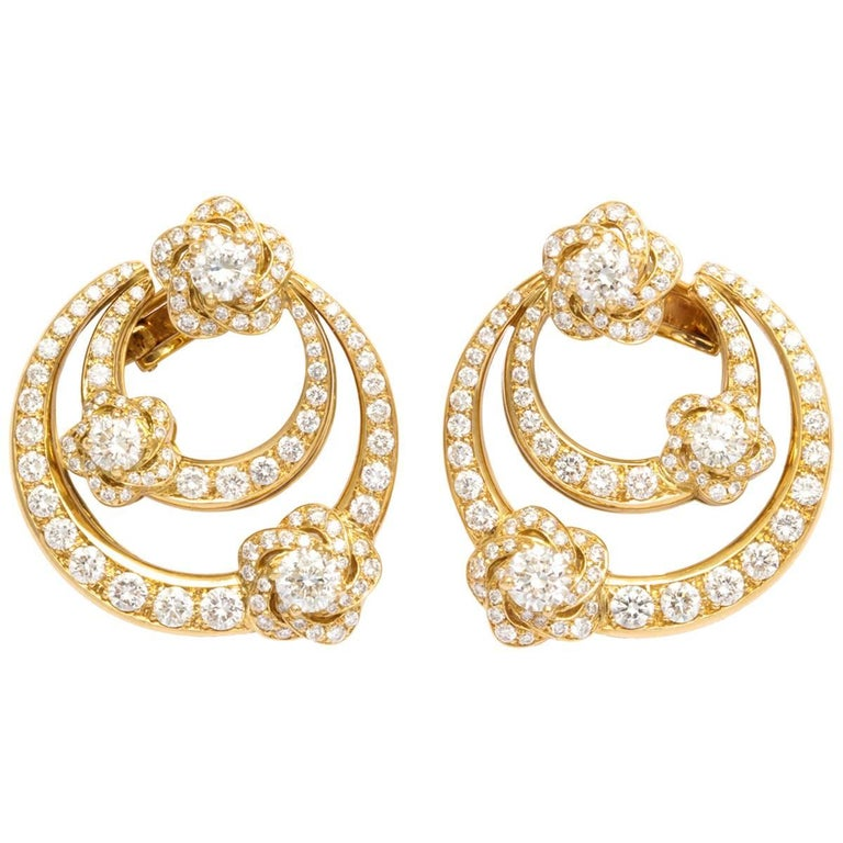 Bulgari Diamond Gold Earrings with Clips