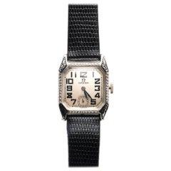 Omega White Gold Enamel Art Deco Wristwatch