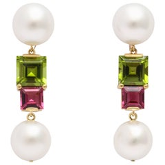 Donna Vock South Sea Cultured Pearl, Peridot and Pink Tourmaline Earrings