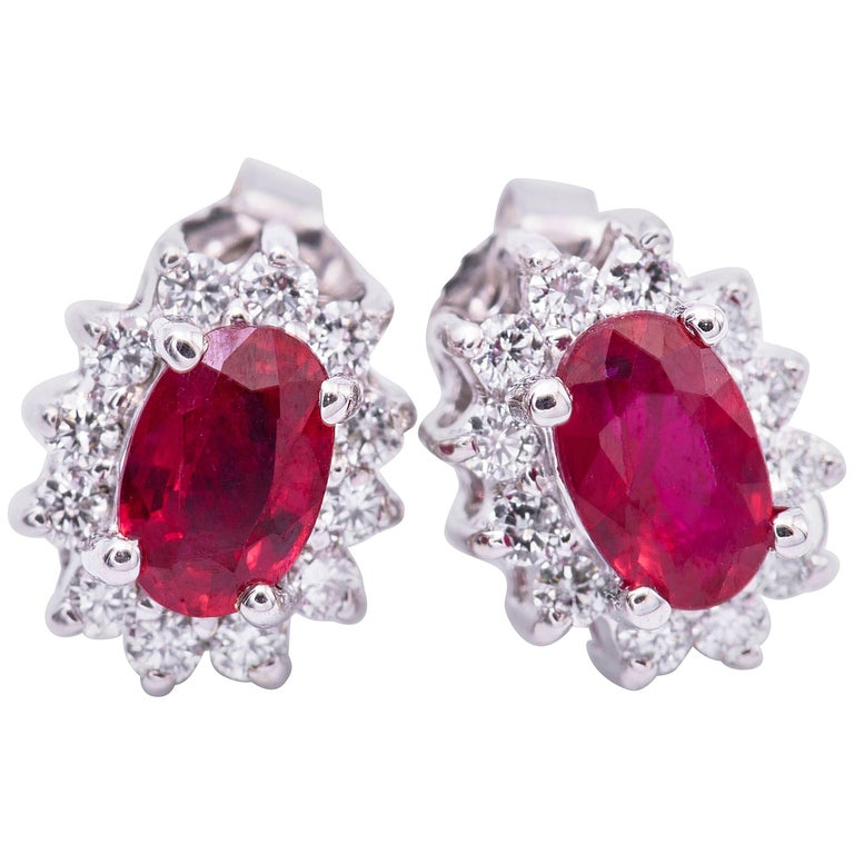 Oval Shape Ruby and Diamond Studs White Gold Earrings
