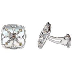 Marisa Perry Mother-of-Pearl Diamond Cufflinks in White Gold