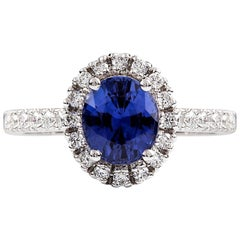 Ceylon Sapphire Diamond White Gold Halo Ring