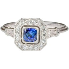 Bespoke Art Deco Style Sapphire Diamond Halo Engagement Ring
