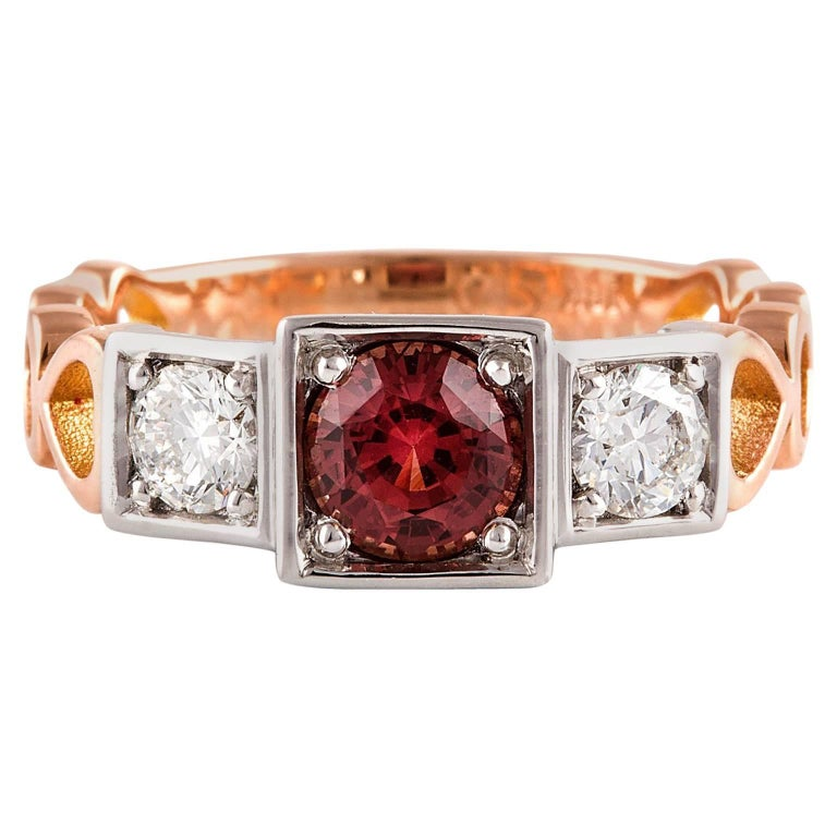 Kian Design, 18 Carat Three Stones Orange Sapphire and Diamond Ring For Sale