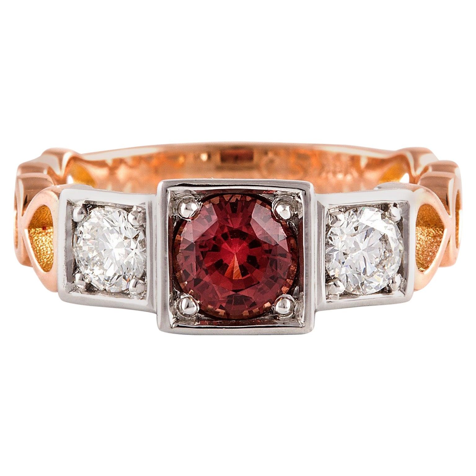 Kian Design, 18 Carat Three Stones Orange Sapphire and Diamond Ring