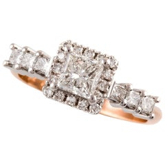 Kian Design White Gold $ Rose Gold Princess Cut Halo Diamond Engagement Ring