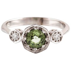 Kian Design 18 Carat Three Stones Round Green Sapphire and Diamond Art Deco Ring
