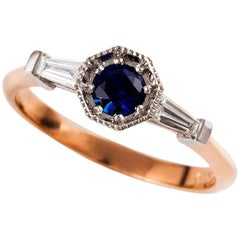 Kian Design 18 Carat Two-Tone Ceylon Sapphire Diamond Art Deco Ring
