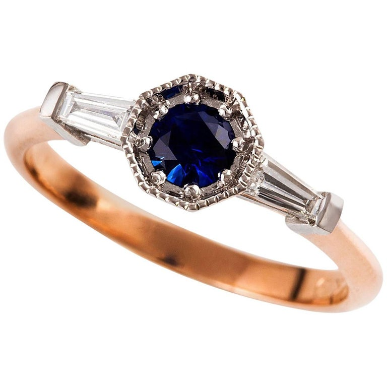 18 carat rose gold and white gold two tone sapphire and diamond art deco ring for sale at 1stdibs. Black Bedroom Furniture Sets. Home Design Ideas