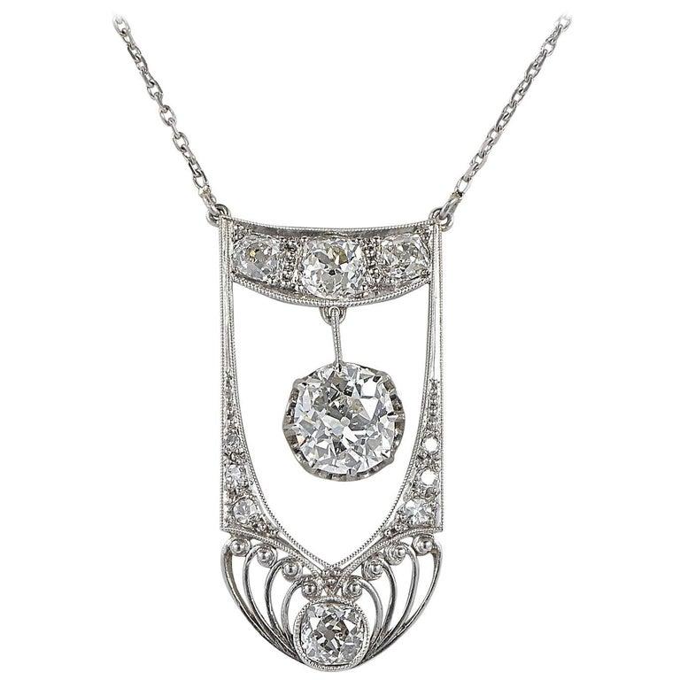 Edwardian French 2.80 Carat Diamond Platinum Necklace