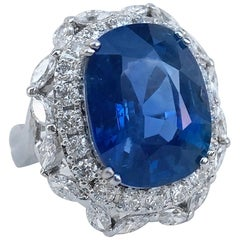 14.13 Carat Unheated Burmese Natural Blue Sapphire Diamond Ring